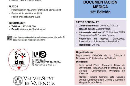 13ª edición del Máster Propio en Documentación Médica (Universidad de Valencia)